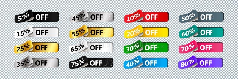 Heldere Kleurrijke 3d Stickers voor Verkoopbanners Malplaatjeontwerp van Etiketten met Percentage voor Bevordering stock illustratie