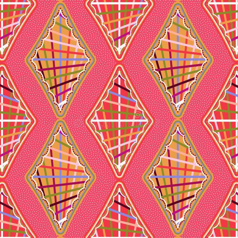 Heldere kleurrijke geweven diamanten in naadloos patroon over gestippelde achtergrond vector illustratie