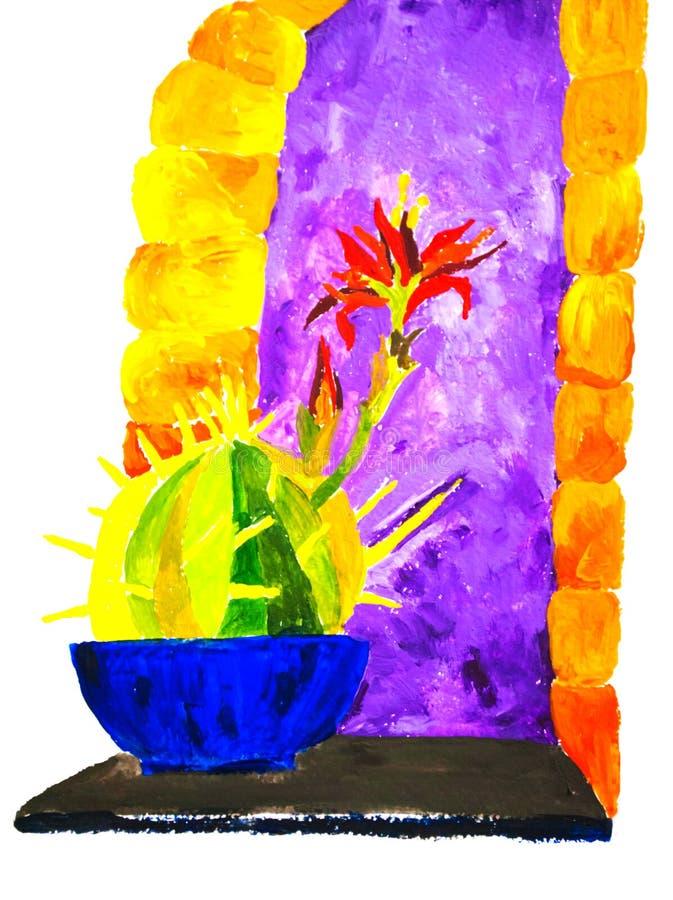 Heldere kleurrijke illustratie van cactus voor purper venster stock illustratie