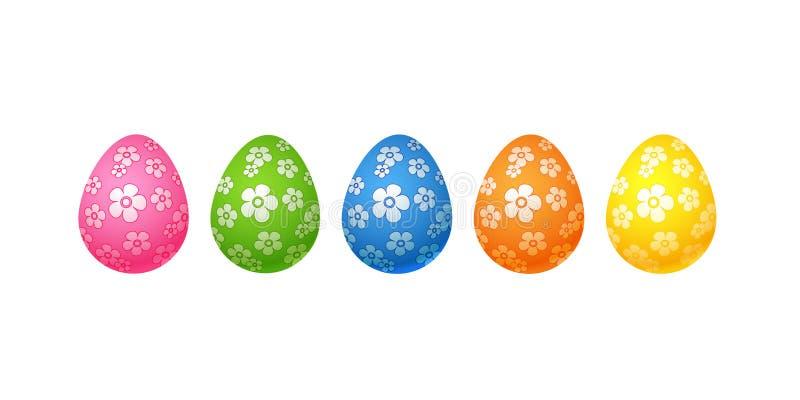 Heldere kleurrijke paaseierenreeks roze blauwgroene oranjegele eieren met bloemen bloemendiepatroon op wit Ei wordt geïsoleerd al stock illustratie