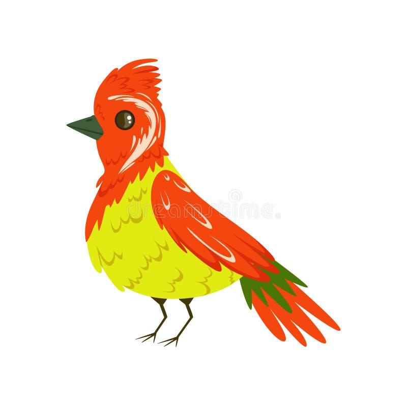 Heldere kleurrijke vogel met een bosje vectorillustratie vector illustratie