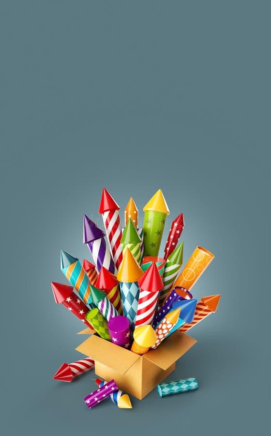 Heldere kleurrijke vuurwerkraketten in een doos vector illustratie