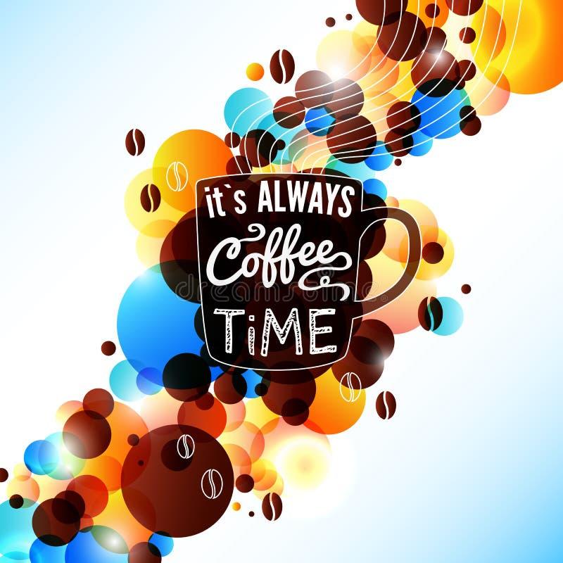 Heldere koffieachtergrond met gloedeffect. royalty-vrije illustratie