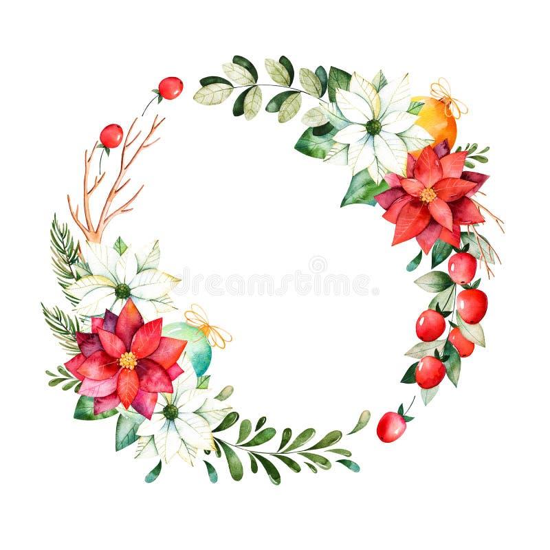Heldere kroon met bladeren, takken, spar, Kerstmisballen, bessen, hulst, pinecones, poinsettia royalty-vrije illustratie