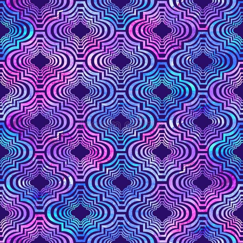 Heldere krullende oostelijke geometrische kleurrijke de plonsentextuur van vorm abstracte grunge, waterverf naadloos patroon in b stock illustratie