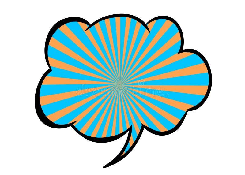 Heldere lege vectortoespraakbel Kleurrijk die pictogram op witte achtergrond wordt geïsoleerd Gestreepte blauwe en oranje wolk Gr vector illustratie