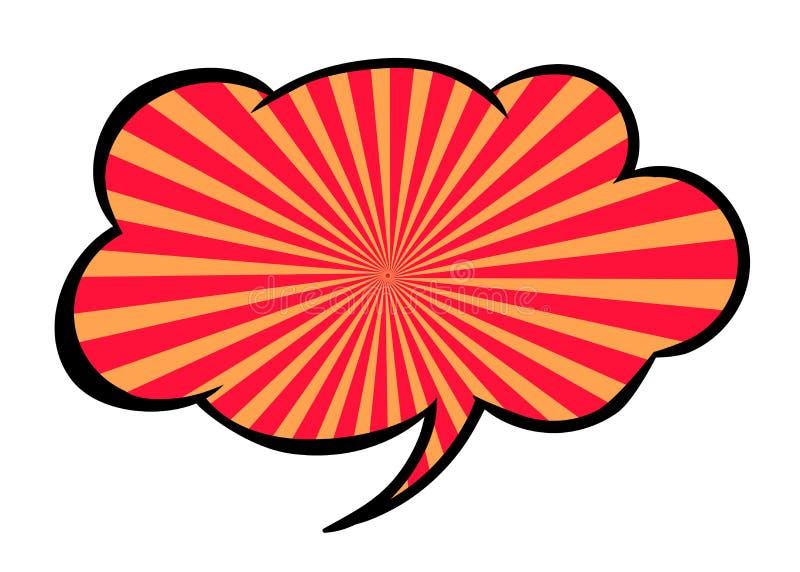 Heldere lege vectortoespraakbel Kleurrijk die pictogram op witte achtergrond wordt geïsoleerd Gestreepte rode en oranje wolk Grap stock illustratie
