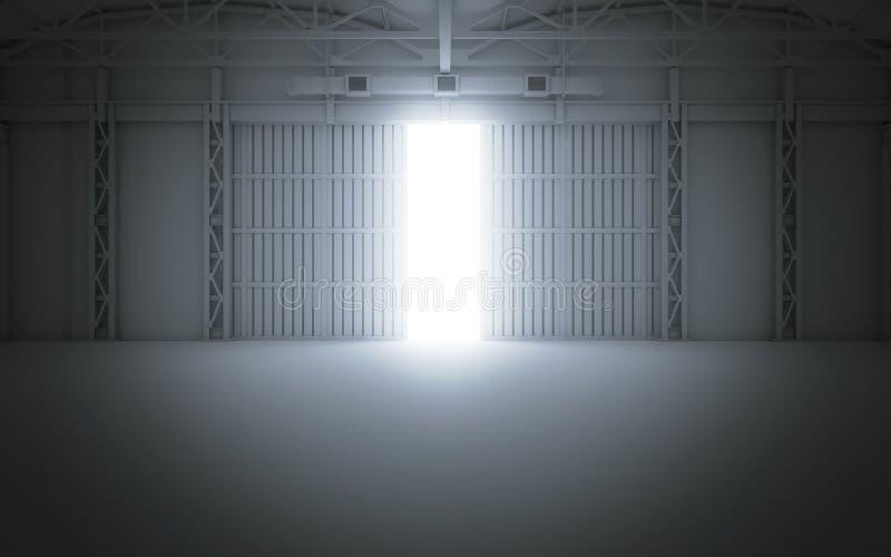 Heldere lichte komst door open hangaardeuren het 3d teruggeven stock illustratie
