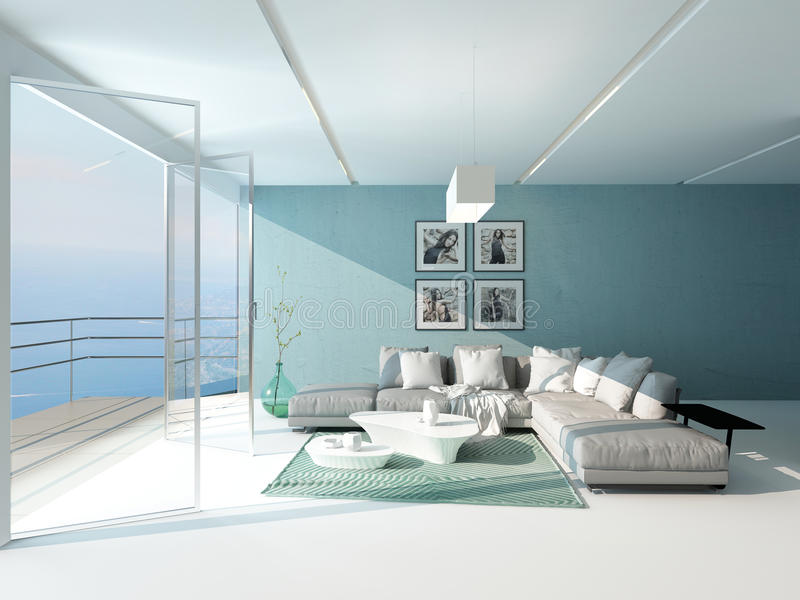 Heldere luchtige woonkamer die het overzees overziet vector illustratie