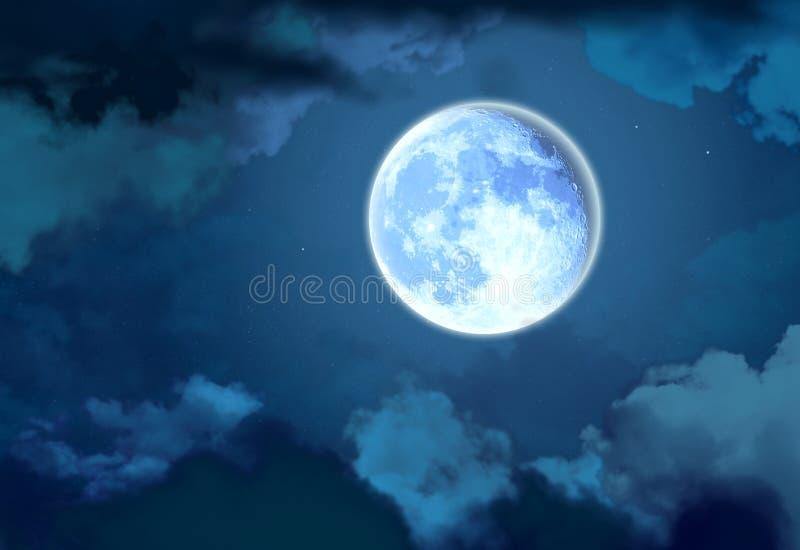 Heldere maan in de nachthemel stock illustratie