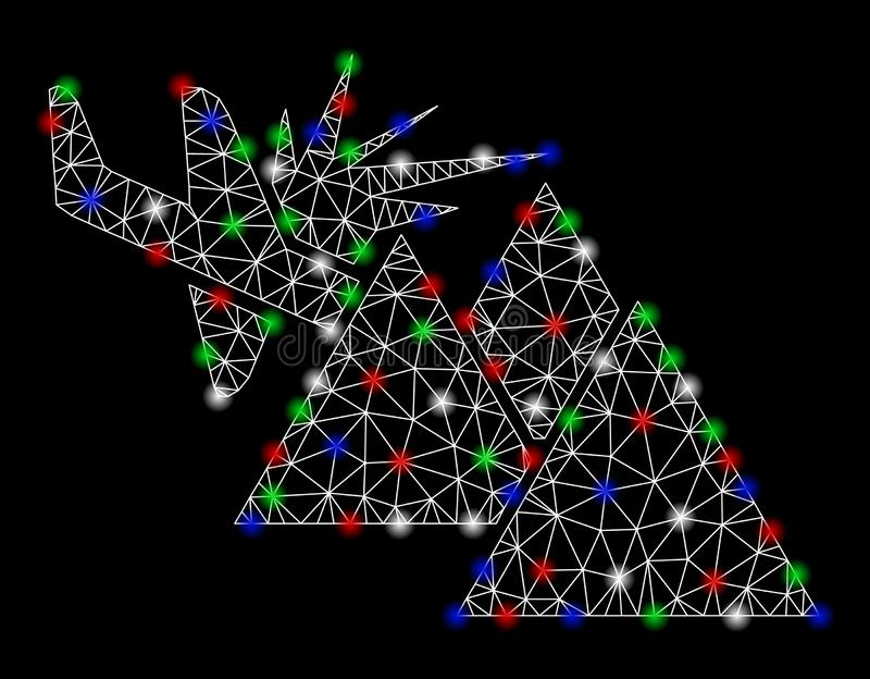 Heldere Mesh Wire Frame Airplane Mountain-Neerstorting met Lichte Vlekken royalty-vrije illustratie