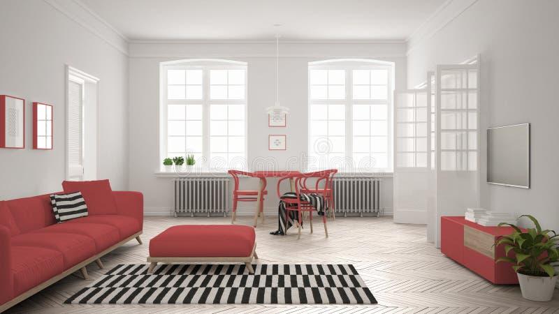 heldere minimalistische woonkamer met bank en eettafel scandi