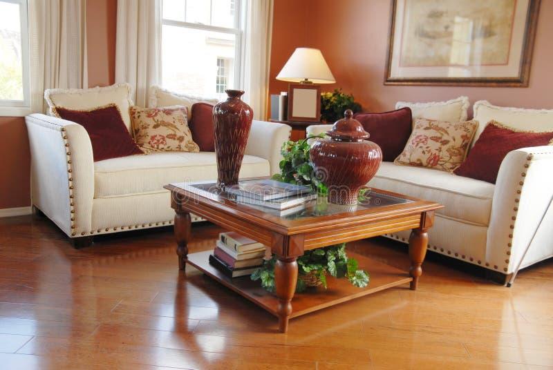 Heldere moderne woonkamer in nieuw huis stock foto's