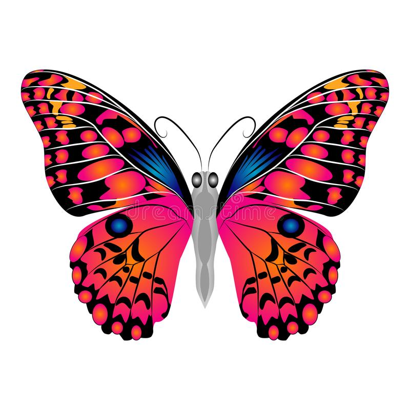 Heldere mooie rode vlinder Vector Geïsoleerdel illustratie royalty-vrije illustratie