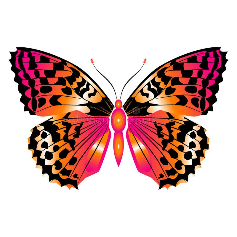 Heldere mooie rode vlinder Vector Geïsoleerdel illustratie stock illustratie