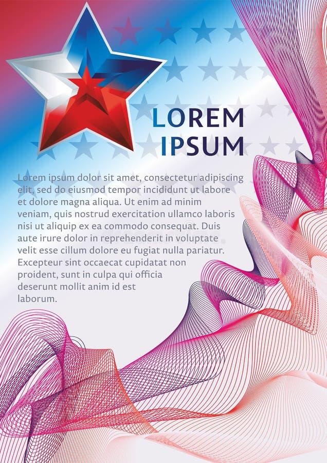 Heldere, mooie vijf-gerichte ster en abstracte achtergrond van lijnen De stervlag, vat moderne golfachtergrond samen vector backg stock illustratie