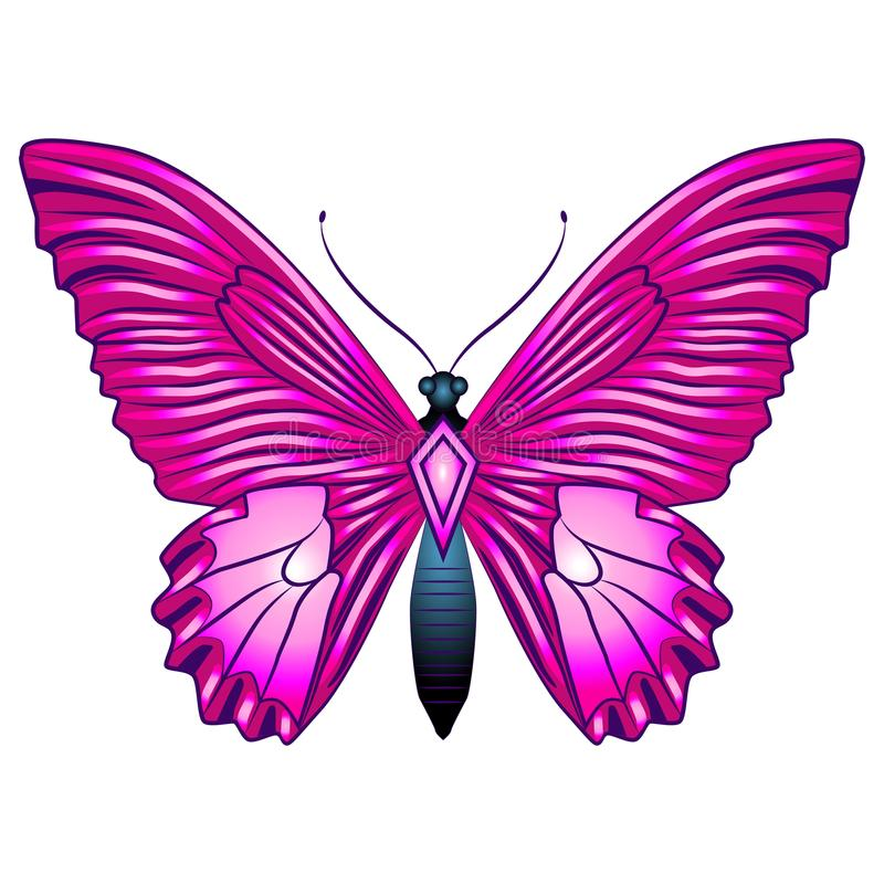 Heldere mooie vlinder Vector Geïsoleerdel illustratie royalty-vrije stock afbeeldingen