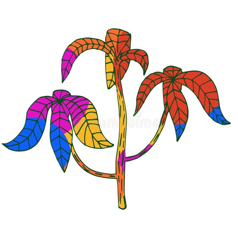 Heldere multicolored tropische installatie, multicolored palm vector illustratie