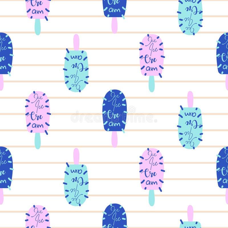 Heldere naadloze het patroonvector van de ijslollypret De blauwe en roze achtergrond van het roomijspop-art stock illustratie