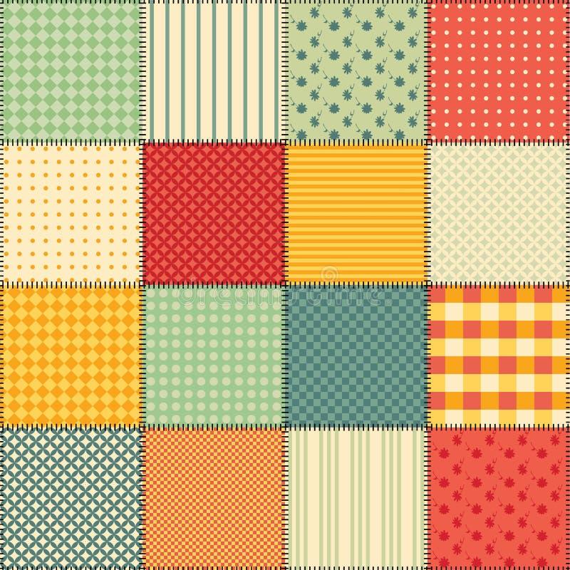 Heldere naadloze lapwerkachtergrond met verschillende patronen stock illustratie