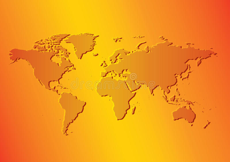 Heldere oranje achtergrond met kaart van de wereld - vector vector illustratie