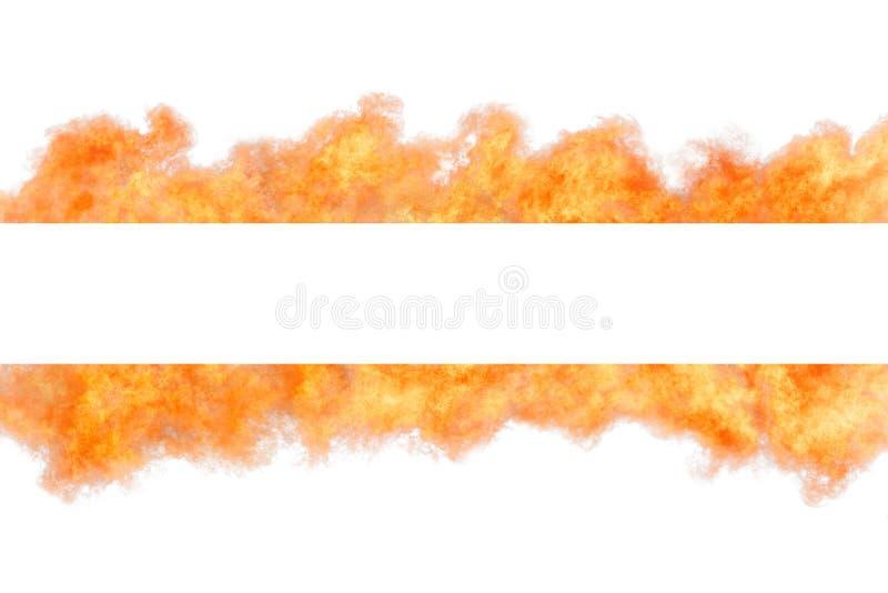 Heldere oranje geïsoleerde vlamstrook met exemplaar ruimtemalplaatje royalty-vrije stock afbeeldingen