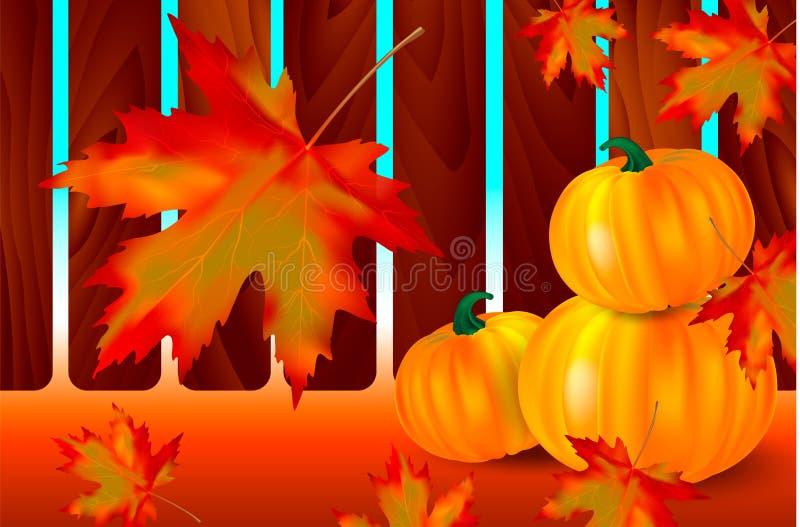 Heldere oranje pompoenen en dalende rode esdoornbladeren op een de herfstachtergrond met houten omheining Seizoengebonden banner  royalty-vrije illustratie