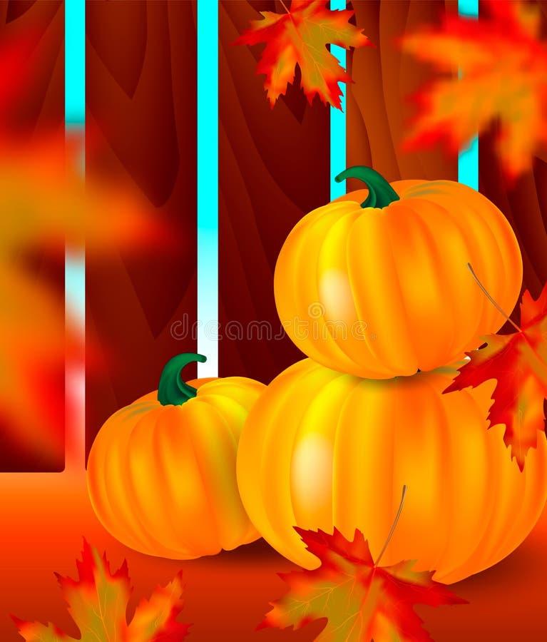 Heldere oranje pompoenen en vage dalende rode esdoornbladeren met op de herfstachtergrond met tuin houten omheining seizoengebond vector illustratie