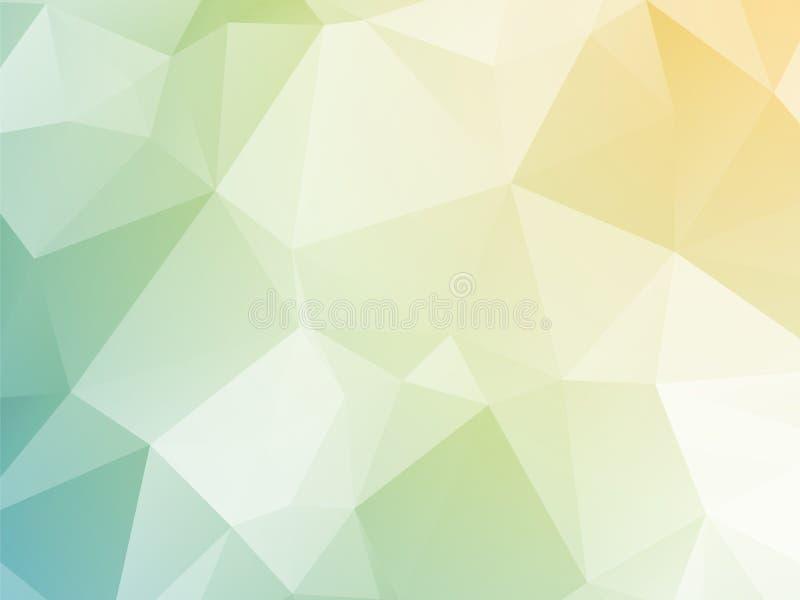 Heldere pastelkleur gele blauwgroene driehoekige achtergrond royalty-vrije illustratie