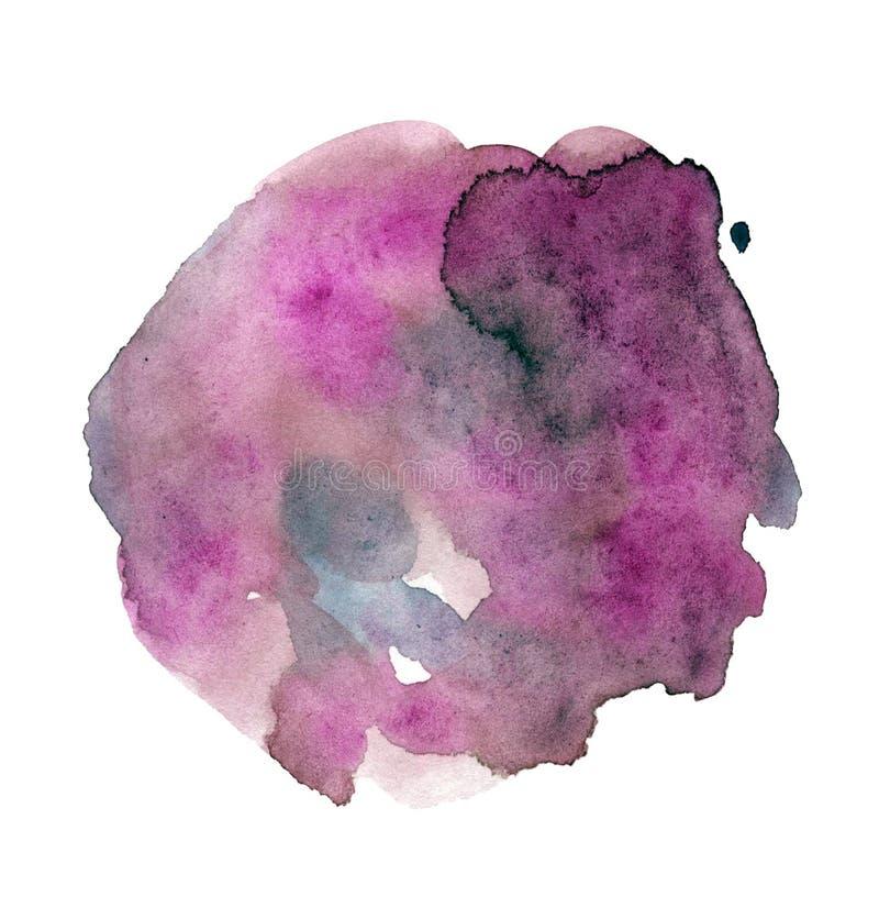 Heldere purpere waterverfpunt, met de hand geschilderde vlek met druppels en vlekken, minimalistic illustratie royalty-vrije illustratie
