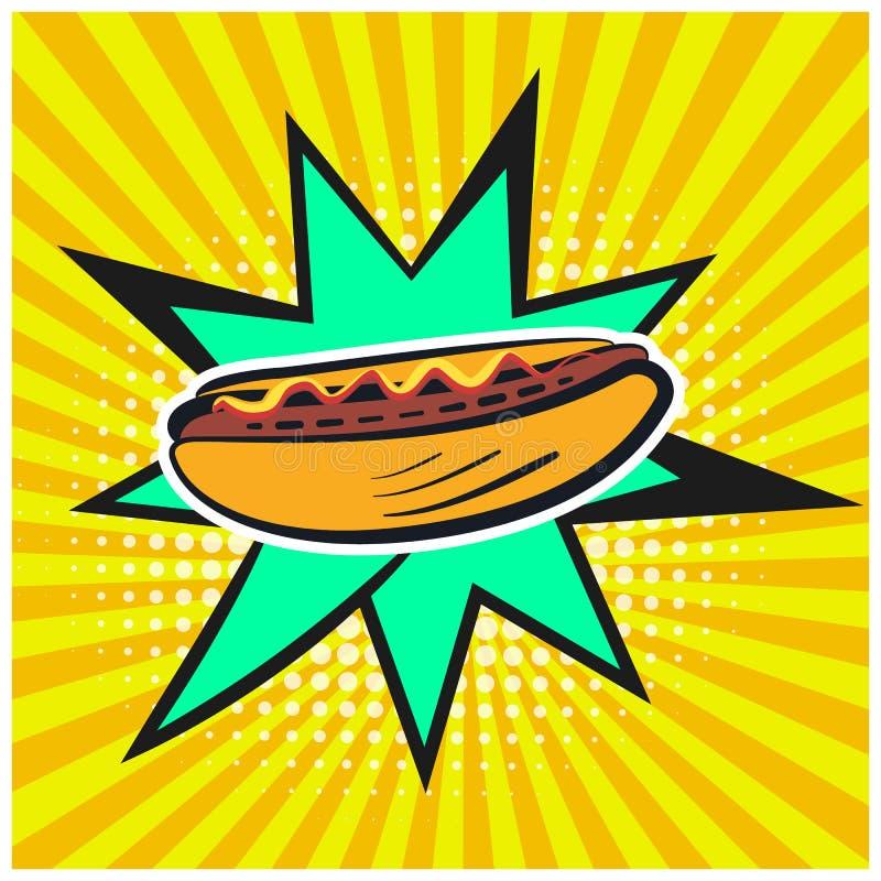 Heldere retro grappige toespraakbel met hotdogsymbool vector illustratie