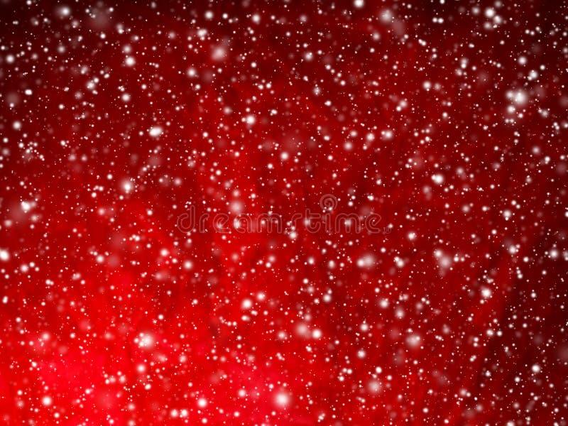 Heldere rode abstracte Kerstmisachtergrond met dalende sneeuw stock afbeelding