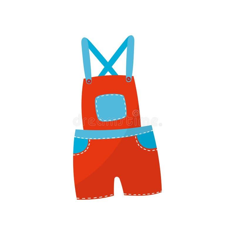 Heldere rode borrels globaal met blauwe zakken Modieuze kleding voor peuterjongen of meisje Kinderens kleding Jonge geitjeskledin stock illustratie