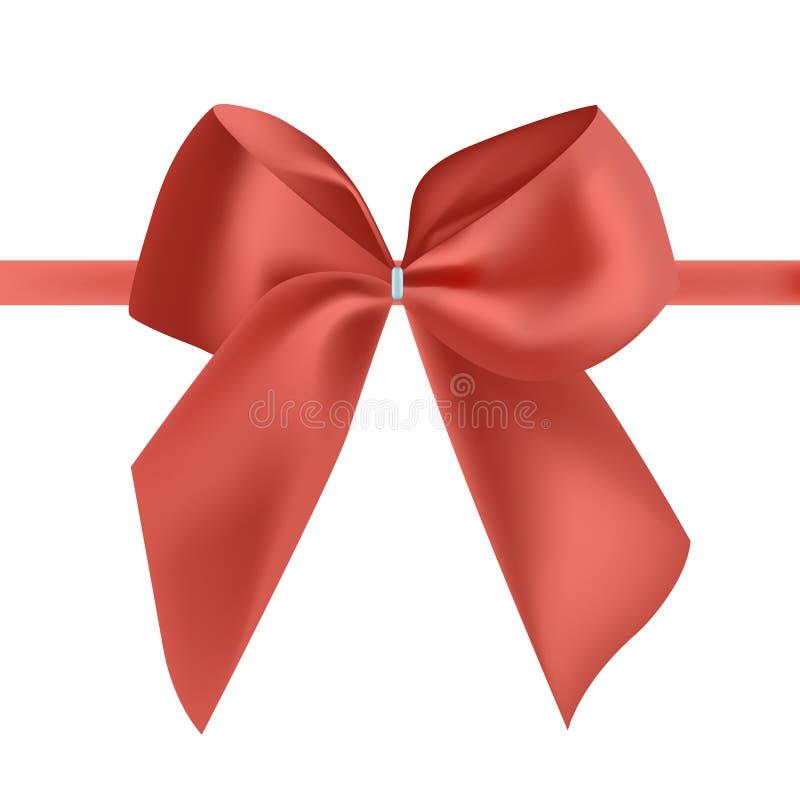 Heldere rode die zijdelint of band met boog wordt verfraaid Buitensporig decoratief ontwerpelement Mooi feestelijk glanzend satij royalty-vrije illustratie