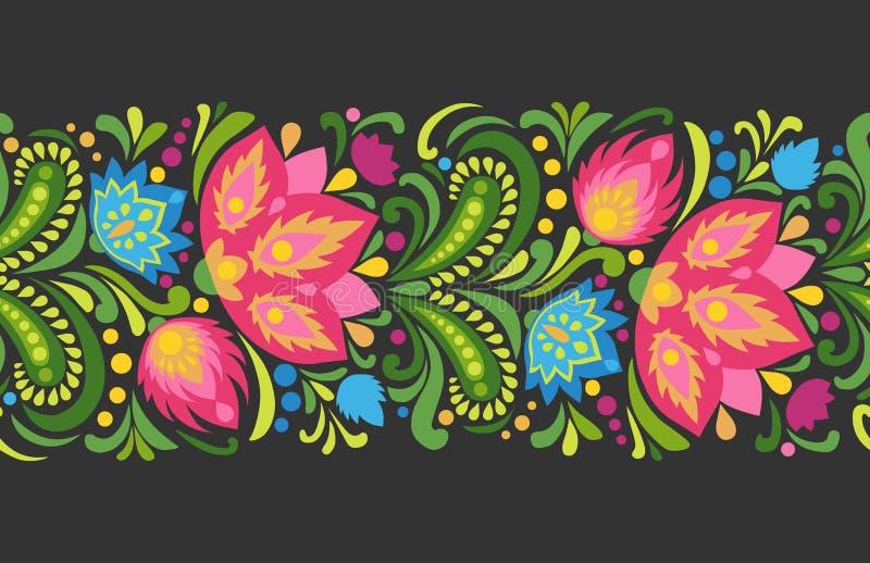 Heldere rode en blauwe bloemen op donkere achtergrond Folkloristisch ornament Vector naadloze grens vector illustratie