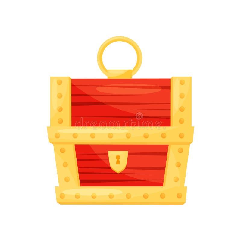Heldere rode houten borst met gouden strepen, sleutelgat en handvat Kist voor juwelen Vlak vectorpictogram vector illustratie