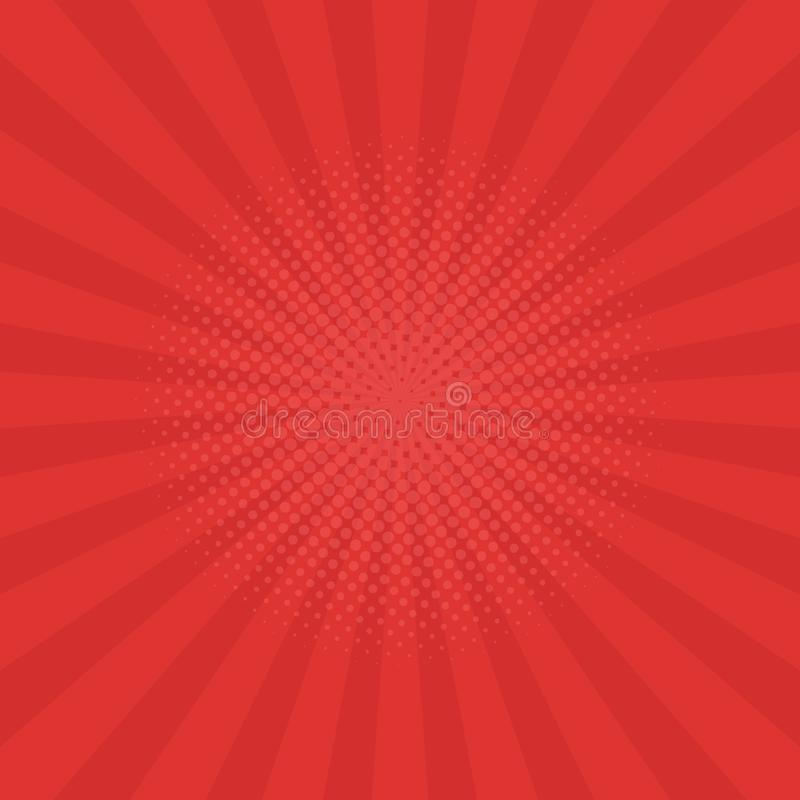 Heldere rode stralenachtergrond Strippagina, pop-artstijl royalty-vrije illustratie