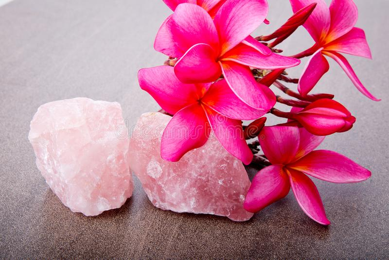 Heldere Roze Frangipani met Rose Quartz stock afbeelding
