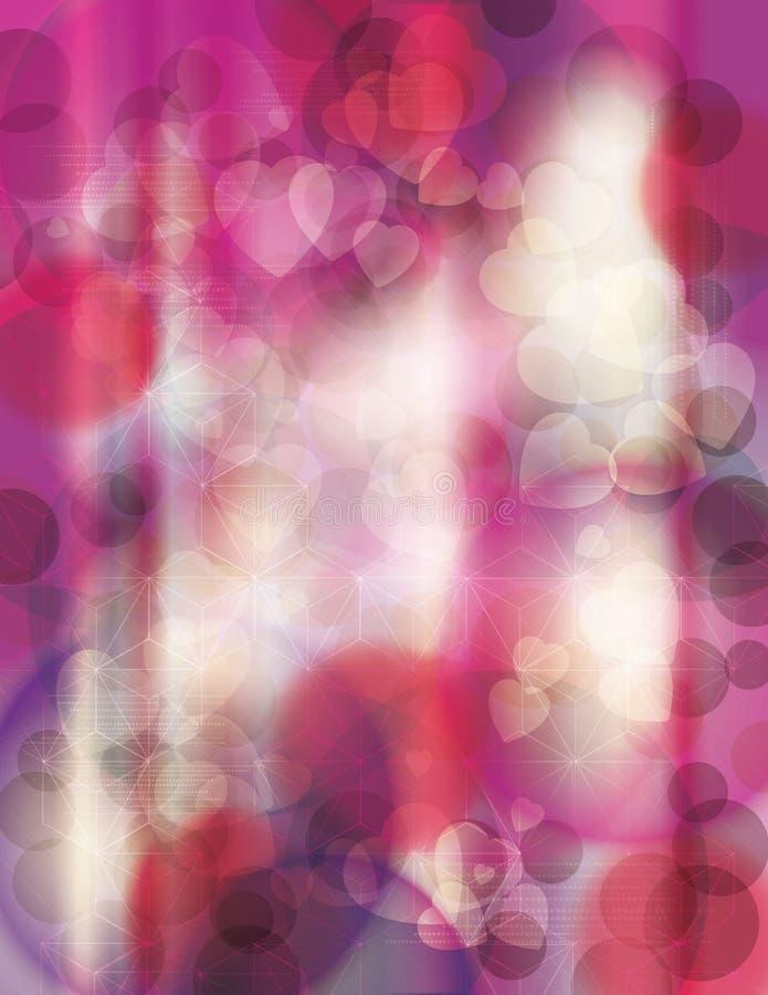 Heldere roze onscherpe hartachtergrond stock illustratie