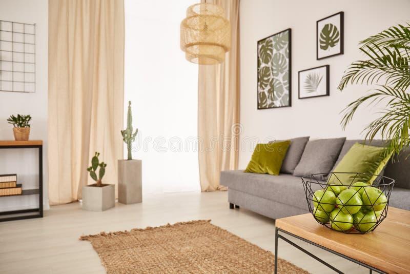 Heldere ruimte met aardachtig ontwerp royalty-vrije stock foto