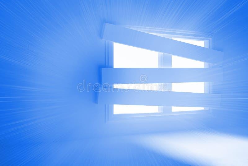 Heldere ruimte met gegrenst omhoog venster vector illustratie