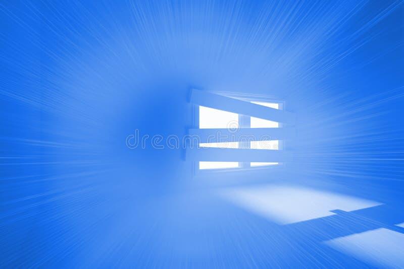 Heldere ruimte met gegrenst omhoog venster royalty-vrije illustratie