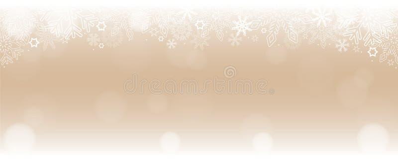 Heldere sneeuw de wintergrens als achtergrond met sneeuwvlokken en sterren vector illustratie