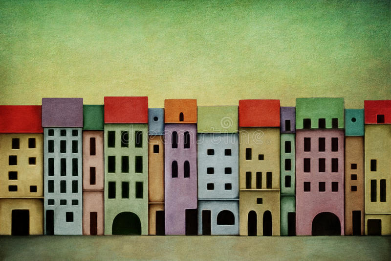 Heldere stad vector illustratie