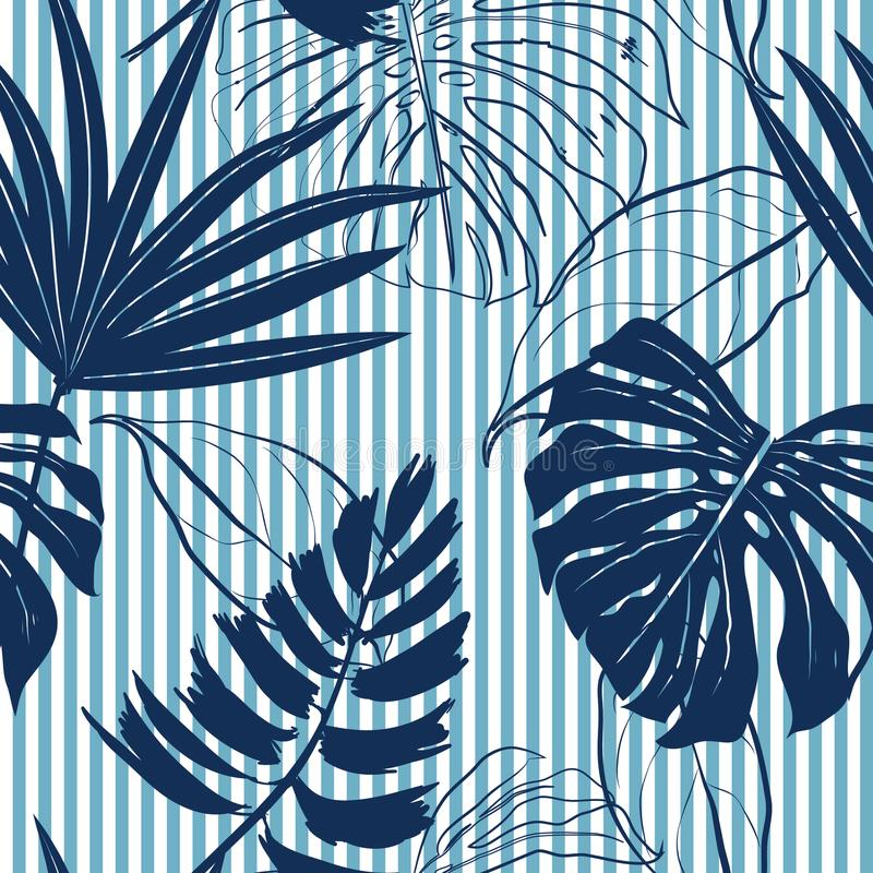 Heldere stemming van de zomer de Marineblauwe tropische bosbladeren op hemelblauw vector illustratie