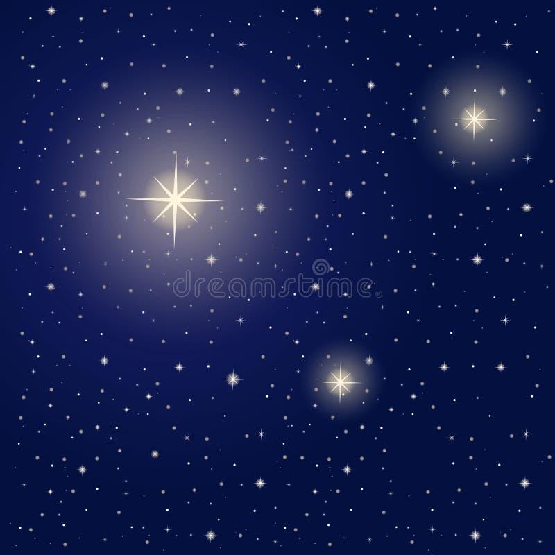 Heldere sterren tijdens nacht royalty-vrije illustratie