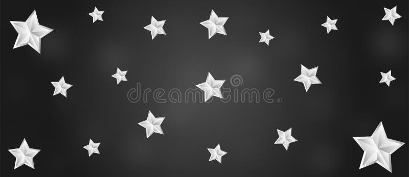 Heldere Sterren in Zwarte Banner Als achtergrond stock illustratie