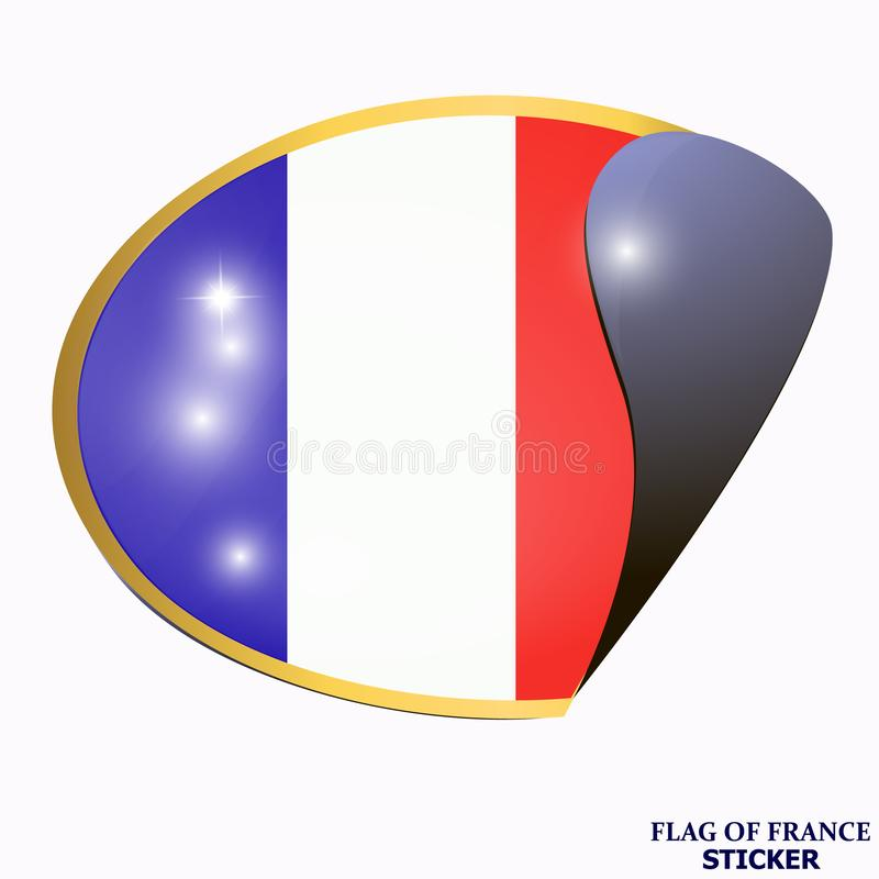 Heldere sticker met vlag van Frankrijk Bannerillustratie met vlag Gelukkige de dagsticker van Frankrijk royalty-vrije illustratie