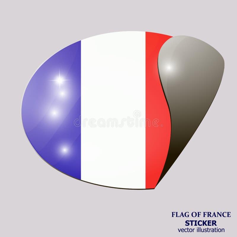 Heldere sticker met vlag van Frankrijk Bannerillustratie met vlag Gelukkige de dagsticker van Frankrijk stock illustratie