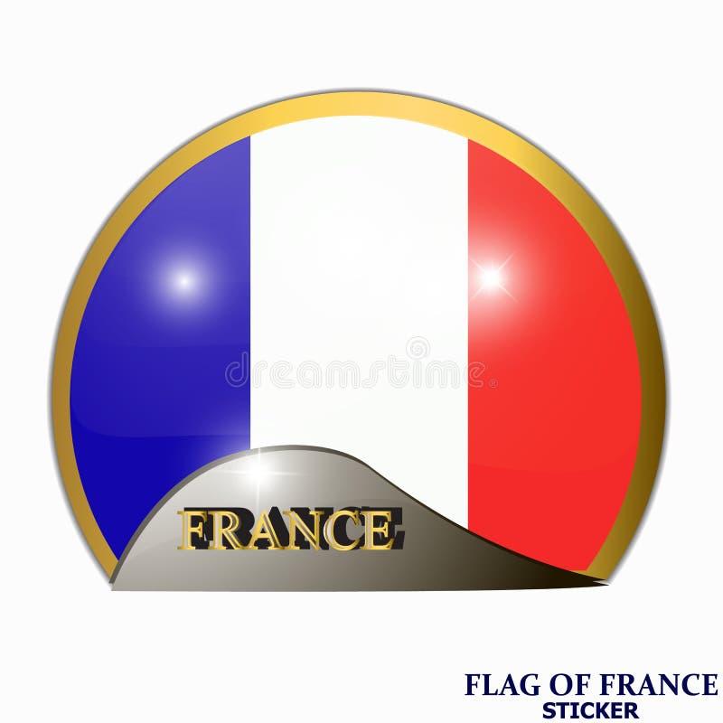 Heldere sticker met vlag van Frankrijk Bannerillustratie met vlag Gelukkige de dagsticker van Frankrijk vector illustratie